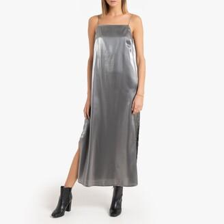 Metallic Cami Midi Dress with Shoestring Straps