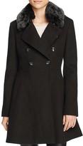 Via Spiga Double-Breasted Faux Fur-Trim Wool Blend Coat