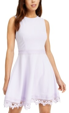 B. Darlin Juniors' Lace-Trim A-Line Dress