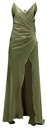 Adriana Iglesias Scarface Silk-blend Satin Gown - Khaki