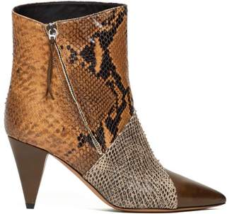 Isabel Marant Latts Snake-effect Leather Ankle Boots - Womens - Tan Multi