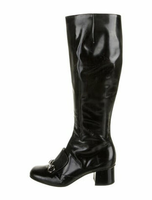 Gucci 1955 Horsebit Accent Patent Leather Riding Boots Black