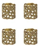 Oscar de la Renta Gardenia Brass Napkin Rings - Set of 4