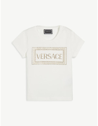 Versace Crystal logo cotton T-shirt 4-8 years