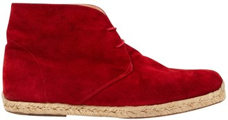 Christian Louboutin Red Suede Lace ups