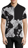 McQ by Alexander McQueen Baroque-Print Clean Polo 03, Black