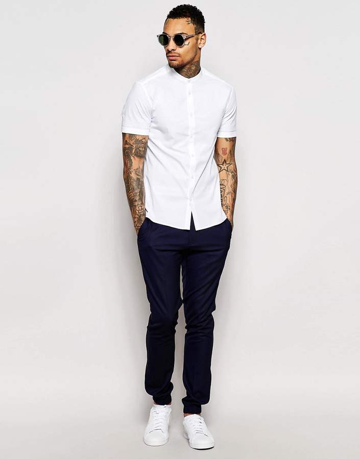 Asos Skinny Shirt With Grandad Collar And Short Sleeves In White