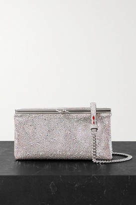 Christian Louboutin Daisy Crystal-embellished Metallic Leather Shoulder Bag - Silver