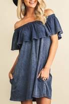 Umgee USA Off Shoulder Ruffle Dress
