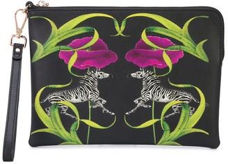 Cynthia Rowley zebra and floral print clutch