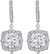 Lafonn Platinum Plated Sterling Silver Simulated Diamond Cushion Halo Dangle Earrings