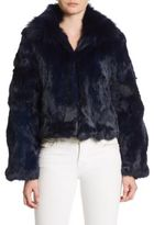 Adrienne Landau Fox & Rabbit Fur Chubby Coat