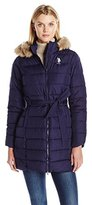 U.S. Polo Assn. Women's Puffer Coat with Self Belt and Faux Fur Trimmed Hood
