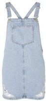 Topshop TALL Ripped Denim Pinafore Dress