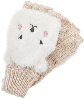 Accessorize Girls Polar Bear Capped Mittens - Ivory