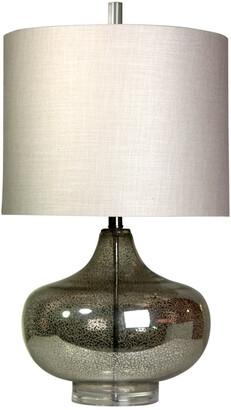 Stylecraft Style Craft 27.5In Antique Full Body Mercury Glass Designer Table Lamp