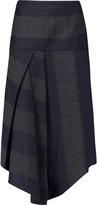 Tibi Horizon striped asymmetric flannel skirt