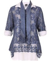 Dorothy Perkins Womens *Izabel London Blue Long SLeeve Top With Scarf- Blue