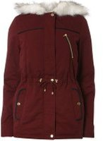 Dorothy Perkins Womens **Tall Burgundy Short Parka coat- Red