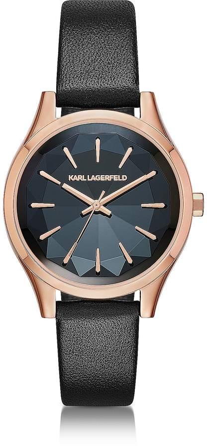 Karl Lagerfeld Janelle Rose Gold-tone PVD Stainless Steel Women's Quartz Watch w/Black Leather Strap