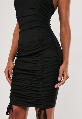 Missguided Black Mesh Ruched Mini Dress