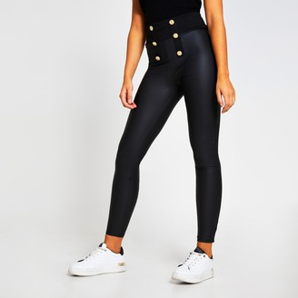 River Island Womens Black button detail coated leggings