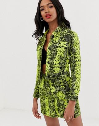 ASOS DESIGN denim jacket in neon lime snake print