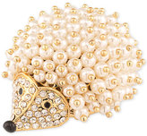 Carolee Gold-Tone Pearl Cluster and Pavé Hedgehog Pin