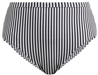 ASCENO High-rise Striped Bikini Briefs - Womens - Black Stripe