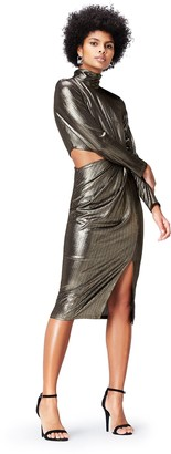 Find. Amazon Brand Women's Dress in Metallic Fabric with Peephole Side