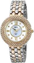Burgi Women's BUR125TTG Diamond & Crystal Accented Mother-of-Pearl Yellow Gold and Silver Bracelet Watch