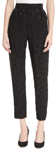 Co Mosaic Jacquard Pleat-Front Ankle Pants