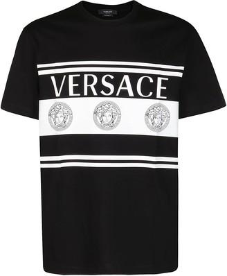 Versace Medusa Logo Striped T-Shirt