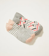 LOFT Stripe Dot and Chevron No Show Sock Set