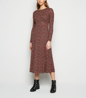New Look Ditsy Floral Long Sleeve Midi Dress