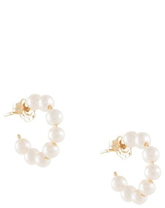 NATASHA SCHWEITZER 9kt Yellow Gold Pearl Hoop Earrings