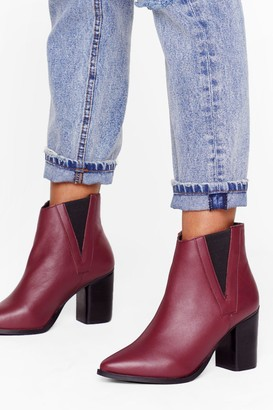 Nasty Gal Womens My Best Side Leather Heeled Boots - Burgundy