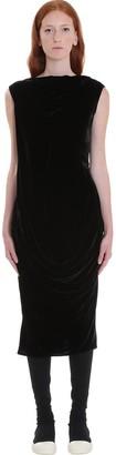 Rick Owens Slash Neck Dress In Black Velvet