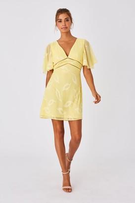 Little Mistress Tandi Lemon Zest Textured Leaf Shift Dress