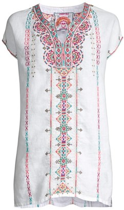 Johnny Was Los Angeles Verena Embroidered Linen Tunic