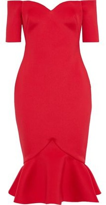 Badgley Mischka Off-the-shoulder Fluted Scuba Dress