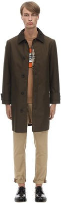 Burberry Cotton Trench Coat W/ Check Lining