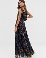 French Connection Aventine floral velvet maxi dress