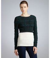 Opening Ceremony forest green wool blend textured cropped sweater