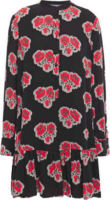 Alexander McQueen Gathered Printed Silk Crepe De Chine Mini Dress