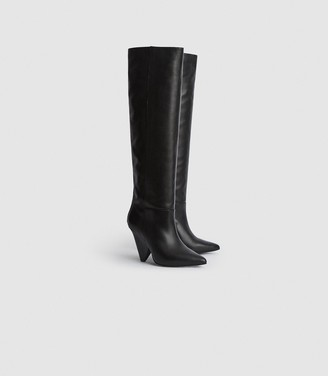Reiss Jax - Leather Knee High Boots in Black