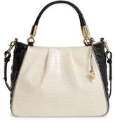 Brahmin 'Ruby' Croc Embossed Leather Satchel - Ivory