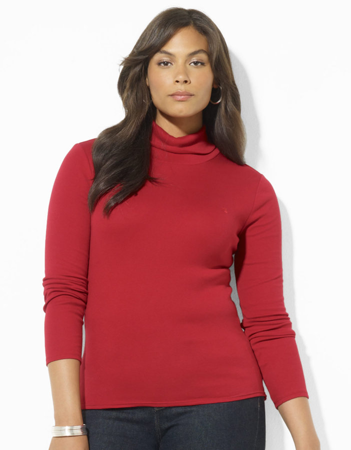 Lauren Ralph Lauren Plus-Size Long-Sleeved Cotton Turtleneck