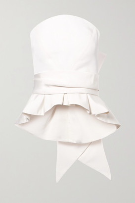 Brandon Maxwell Bow-detailed Silk-twill Bustier Top - Ivory