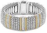 Lagos 18K Gold and Sterling Silver Diamond Lux Triple Station Bracelet, 23mm